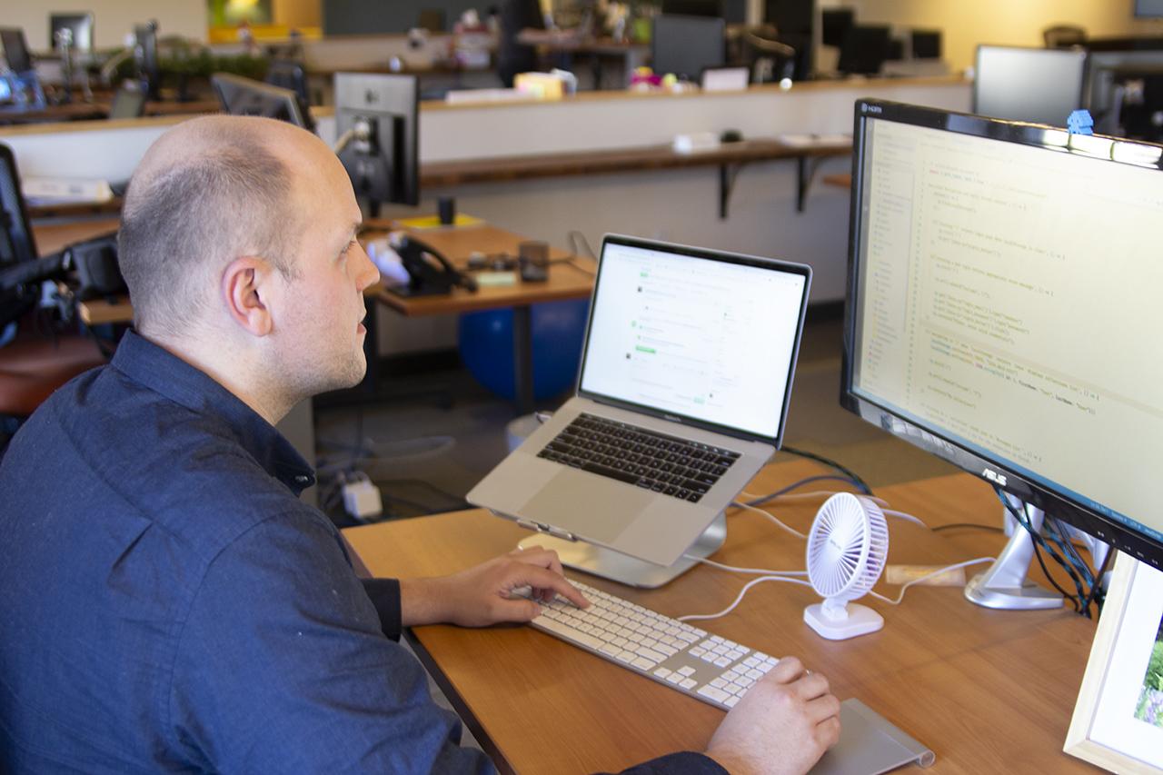 Developer works at computer